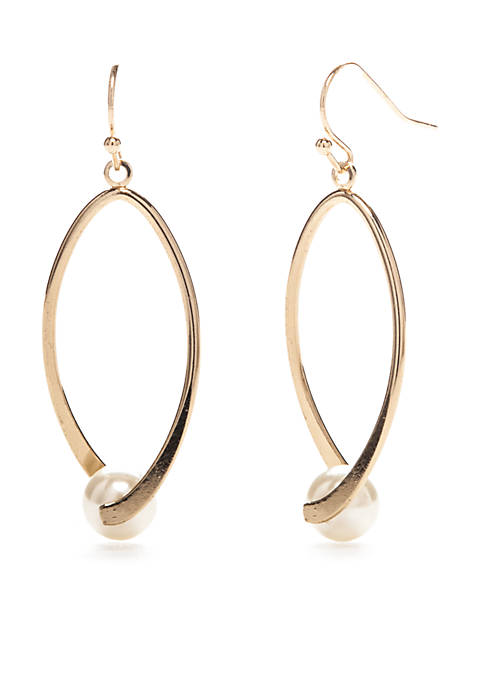 Kim Rogers® Gold-Tone Oval Twist Pearl Drop Earrings