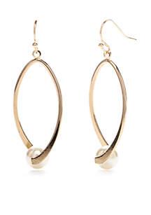 Gold-Tone Oval Twist Pearl Drop Earrings