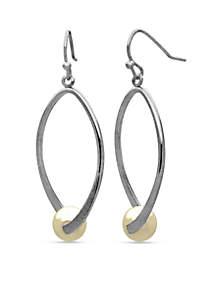 Silver-Tone Oval Twist Pearl Drop Earring