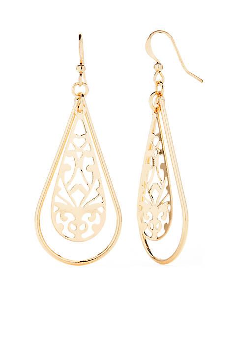 Kim Rogers® Silver-Tone Filigree Open Teardrop Earrings
