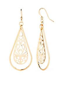 Gold-tone Filigree Open Teardrop Earring