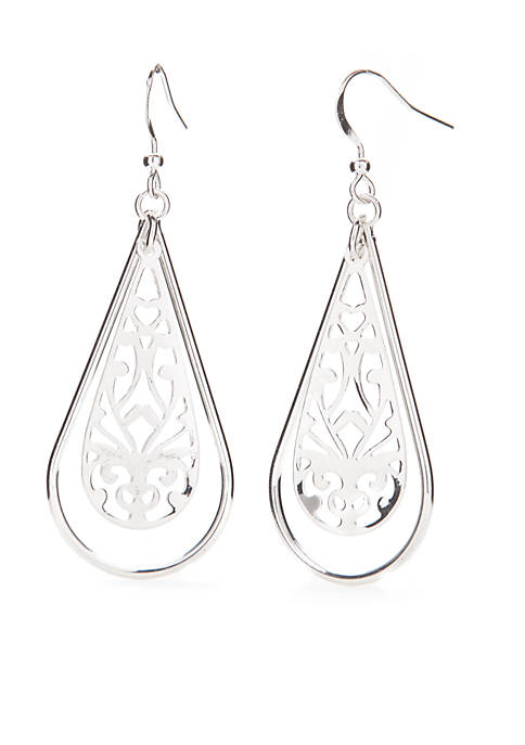 Kim Rogers® Silver-Tone Filigree Open Teardrop Earrings