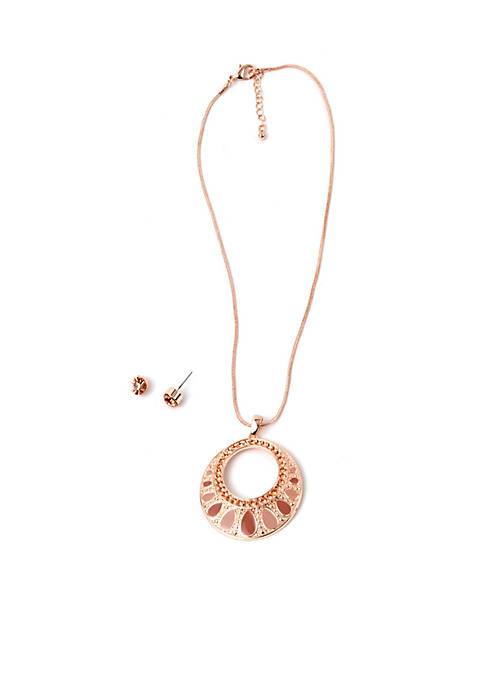 Kim Rogers® Rose Gold-Tone Open Circle Necklace and