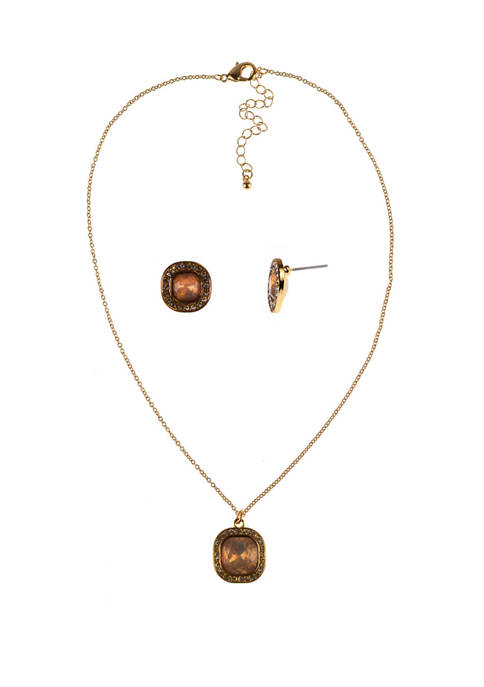 Kim Rogers® Gold Square Earrings and Necklace Set