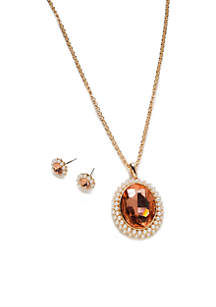 Gold Peach Oval Stone And Pearl Necklace Set