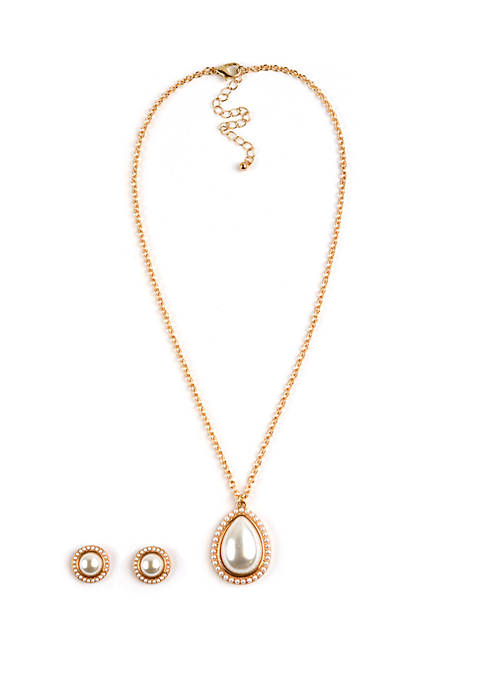Kim Rogers® Teardrop Boxed Necklace And Earring Set