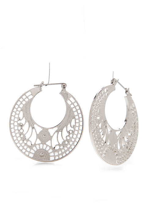 Kim Rogers® Silver-Tone Filigree Earrings