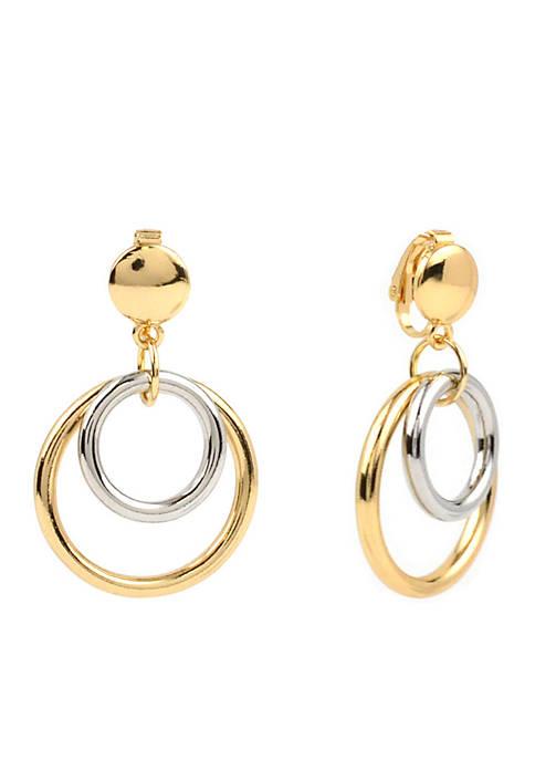 Kim Rogers® 2 Tone Double Circle Clip Earrings