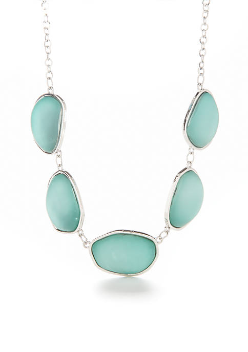 Kim Rogers® Silver-tone Turquoise Uneven Oval Necklace