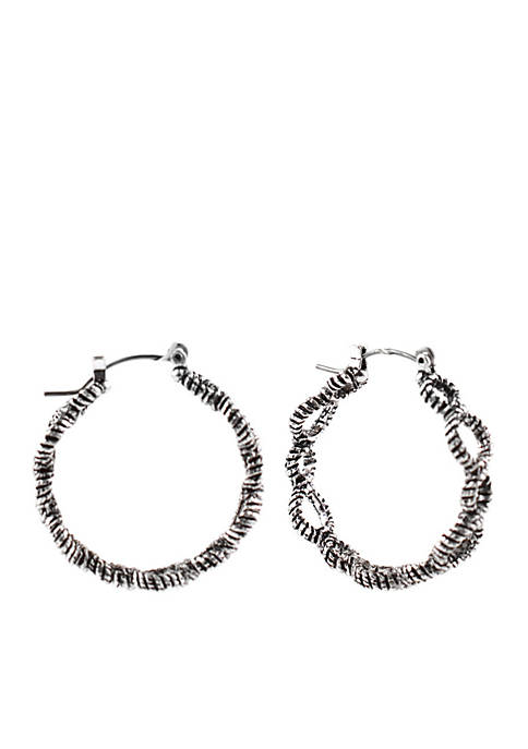 Kim Rogers® Silver-Tone Rope Circles Hoop Earrings