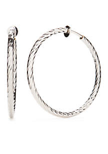 Silver-Tone Clip Twisted Hoop