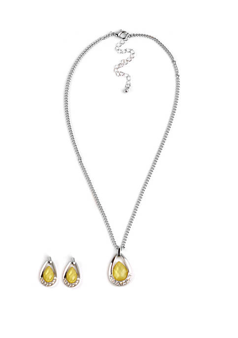 Kim Rogers® Boxed Silver Tone Teardrop Necklace And