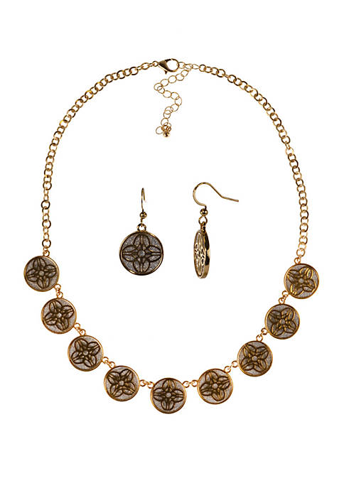 Kim Rogers® Circle Necklace and Earring Set