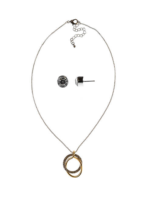 Oval Pave Necklace and Earring Set