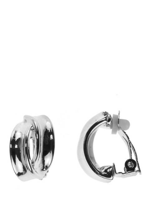 Clip Earring Silver Oval Earrings