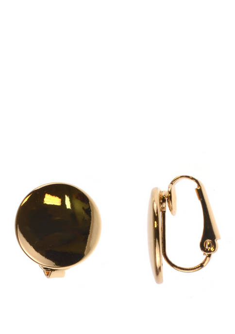 Clip Earring Gold Smooth Round Earrings