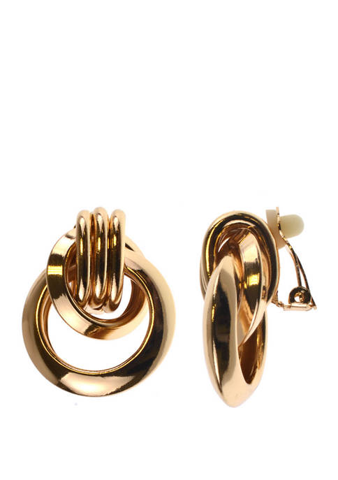 Kim Rogers® Clip Earring Gold Ring Drop Earrings