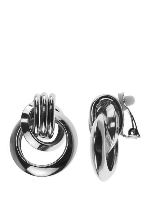 Kim Rogers® Clip Earring Silver Ring Drop Earrings