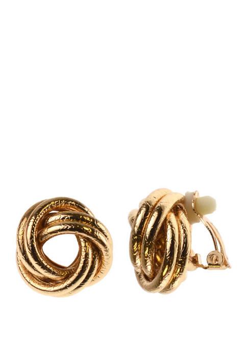 Clip Earring Gold Button Knot Earrings