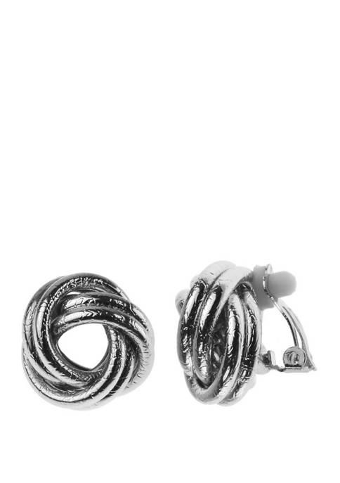 Clip Earring Silver Button Earrings