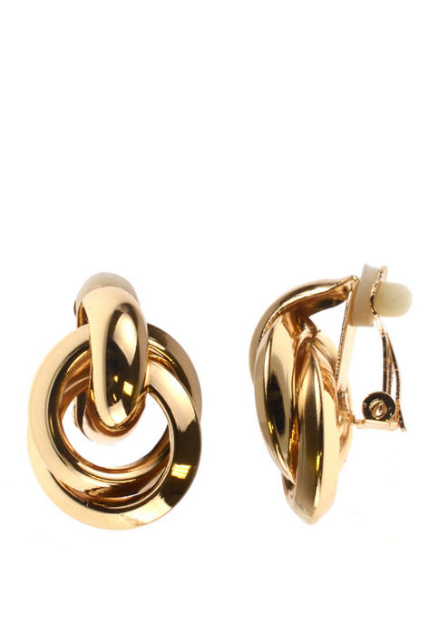 Clip Earring Gold Double Ring Earrings
