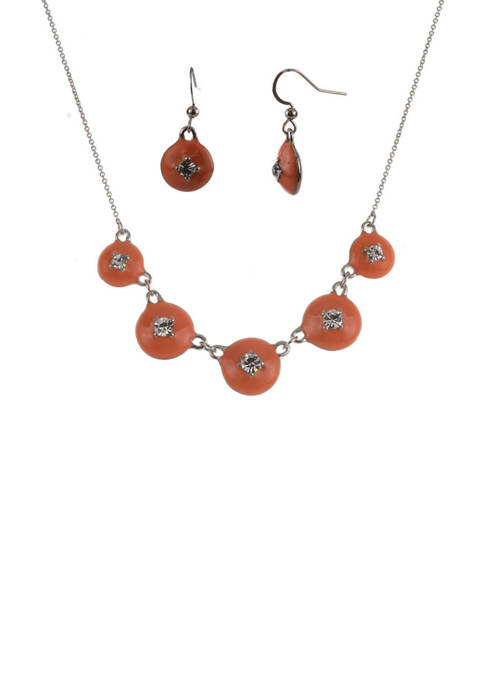 Five Cabochon Necklace Set with Crystals
