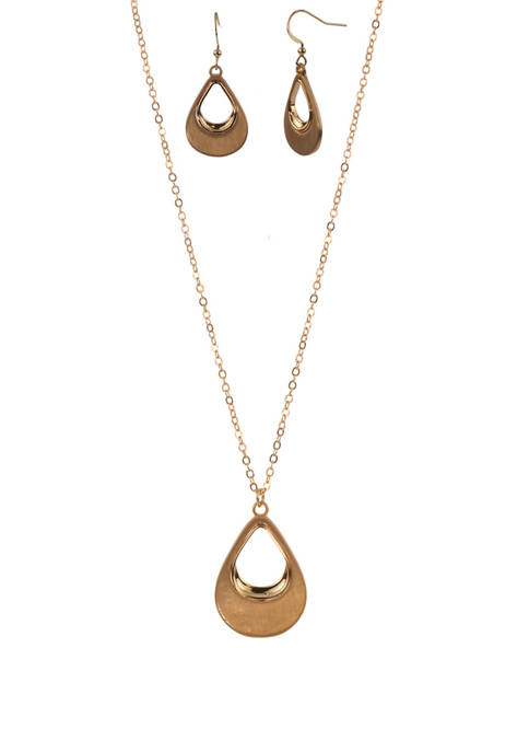 Gold Tone Open Teardrop Earring and Necklace Set