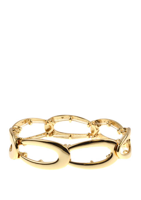 Gold Tone Oval Link Stretch Bracelet