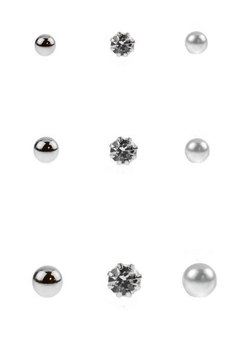 9 Pair Silver Tone Crystal Pearl Ball Stud Earrings Set
