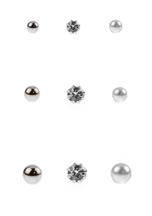 9 Pair Silver Tone Small Crystal Pearl Ball Stud Earrings Set