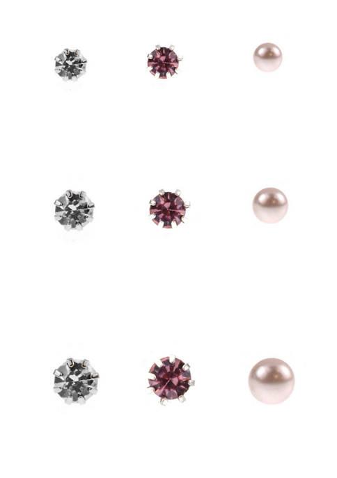9 Pair Crystal Pink Pearl Stud Earrings Set