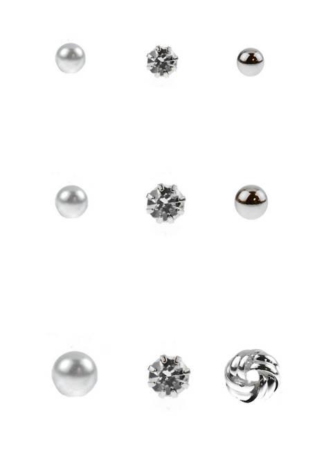 Kim Rogers® 9 Pair Crystal Pearl Silver Ballknot