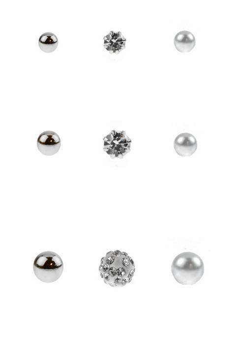 9 Pair Silver Pearl Fireball Stud Earrings Set