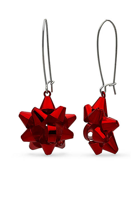 Silver-Tone Red Bow Elongated Drop Earrings