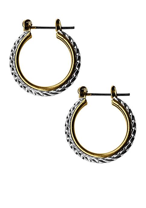 2 Tone Sensitive Skin Rope Hoop Earrings