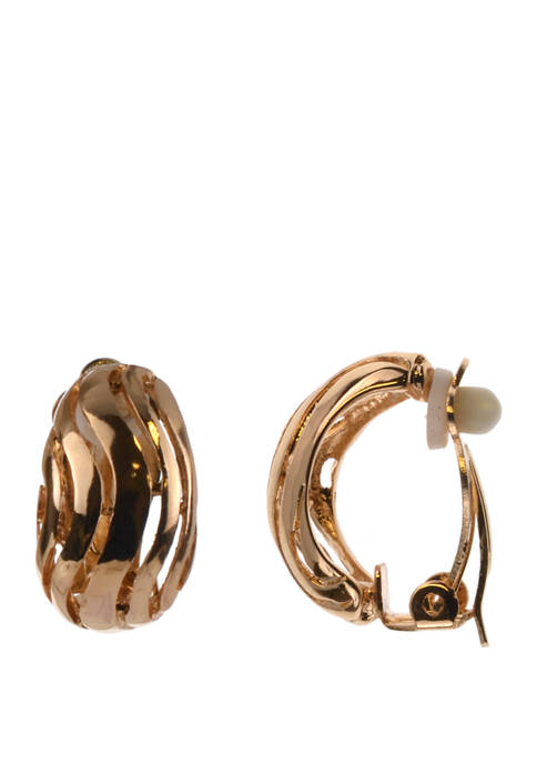 Gold Tone Etch Hoop Earrings