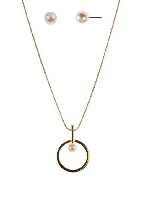 Circle With Pearl Necklace and Earrings Set