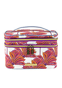 Coral Palm Trees Double Train Case
