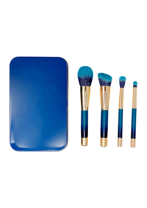 Belk Beauty 4 Piece Teal Blue Brush Set