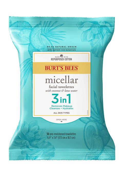 Burt's Bees Facial Cleansing Towelettes, Micellar Coconut &