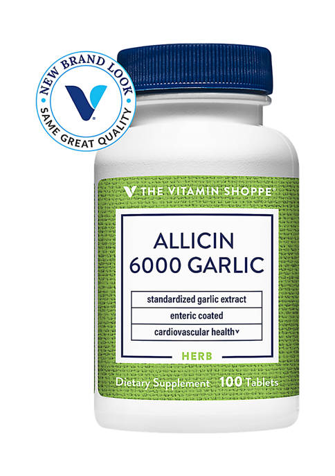 Allicin 6000 Standardized Garlic Extract - Enteric Coated - 650 MG (100 Tablets)