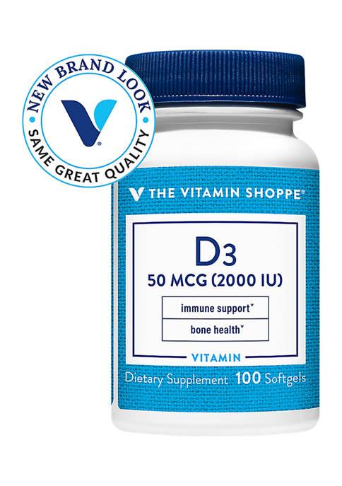 Vitamin D3 - Bone Health & Immune Support - 2,000 IU (100 Softgels)