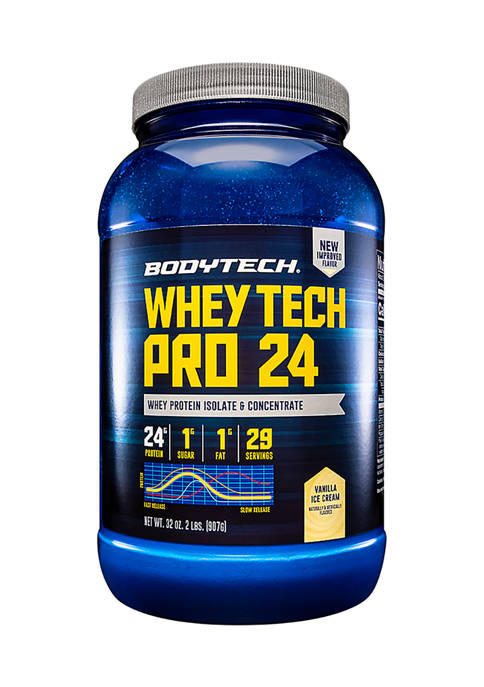 Whey Tech Pro 24 Whey Protein Isolate & Concentrate Powder - Vanilla Ice Cream (2 Pounds / 29 Servings)