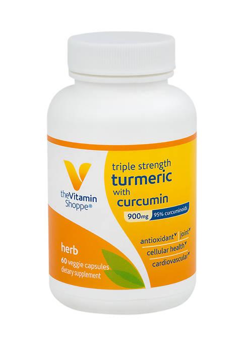 Triple Strength Turmeric with Curcumin 900 mg (60 Vegetarian Capsules)