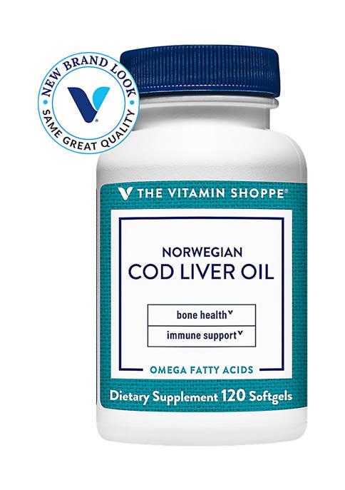 Norwegian Cod Liver Oil - Natural Source of Vitamins A & D (120 Softgels)