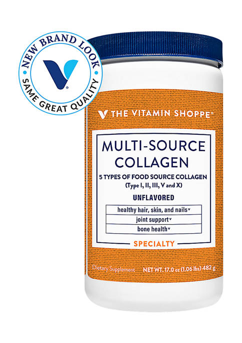 Multi-Source Collagen Powder - 5 Types of Collagen to Support Hair, Skin & Nails - Unflavored (45 Servings)