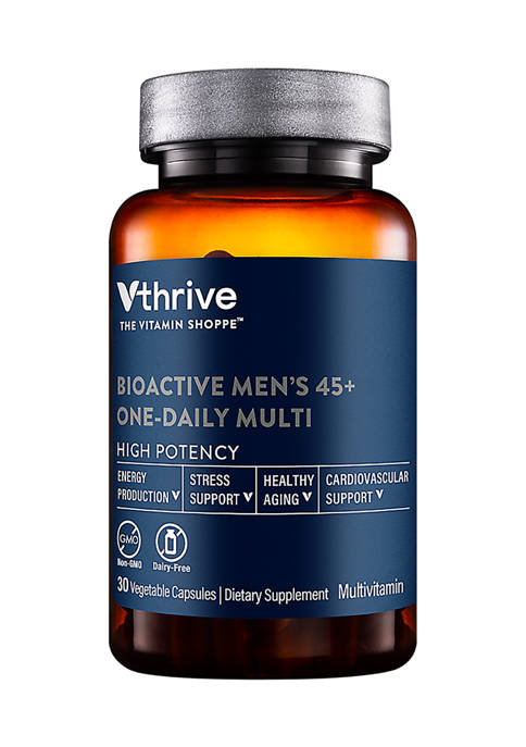 Bioactive Multivitamin for Men 45+ Once Daily - Supports Stress, Healthy Aging (30 Vegetarian Capsules)