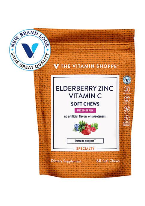 Elderberry, Zinc & Vitamin C Soft Chews - Immune Support - Mixed Berry (60 Soft Chews)