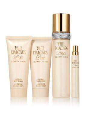Elizabeth Taylor Womens White Diamonds Legacy 4 Piece Fragrance Gift Set, Perfume For Women