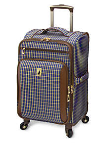 Kensington 360 Ultra Light Expandable Spinner Luggage Collection - Blue Tan Plaid